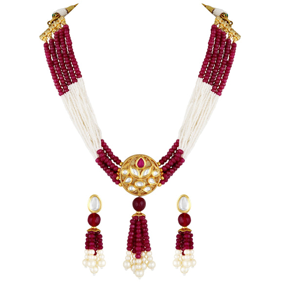 Asmitta Jewellery Brass Jewel Set (Pink, White) -NS745