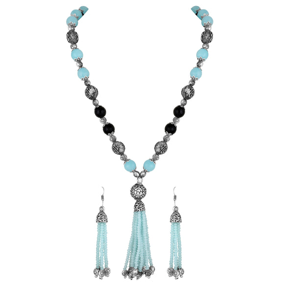 Asmitta Jewellery Zinc Jewel Set (Blue, Black, Silver) -NS747