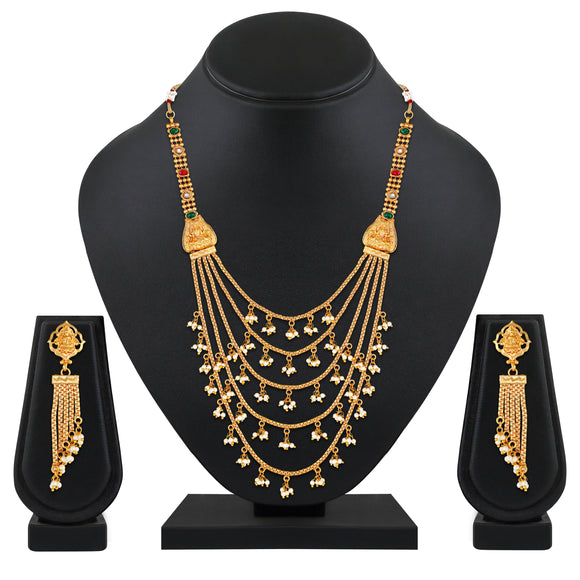 Asmitta Jewellery Gold Copper Necklace Set  - NS765