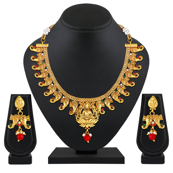 Asmitta Jewellery Gold Copper Necklace Set  - NS767