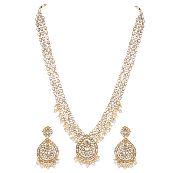Asmitta Wedding wear Kundan Beaded Long Bridal Necklace Set-NS796