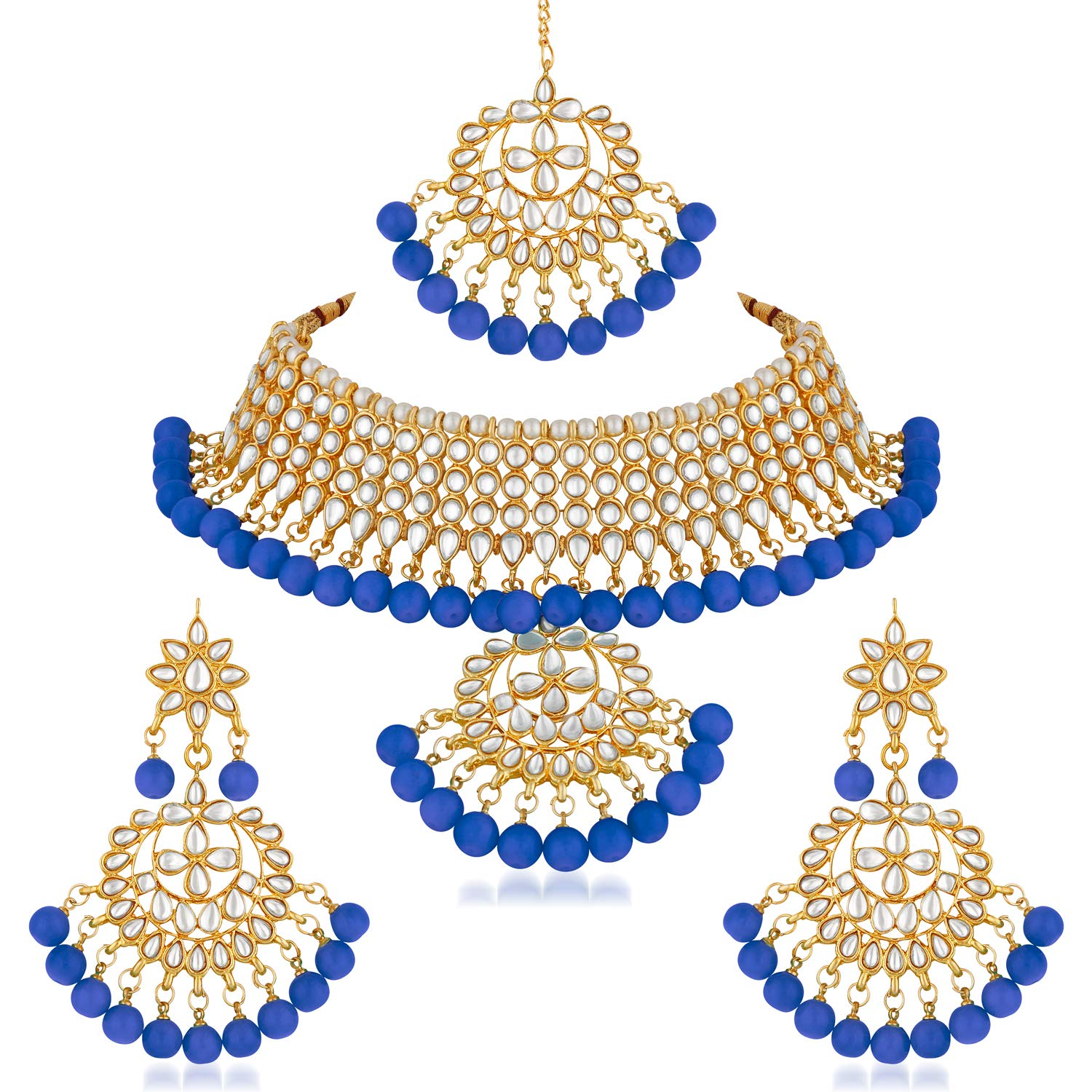 Asmitta Jewellery Blue Zinc Necklace set with Mangtikka - NS801