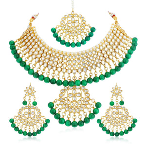 Asmitta Jewellery Green Zinc Necklace set with Mangtikka - NS802