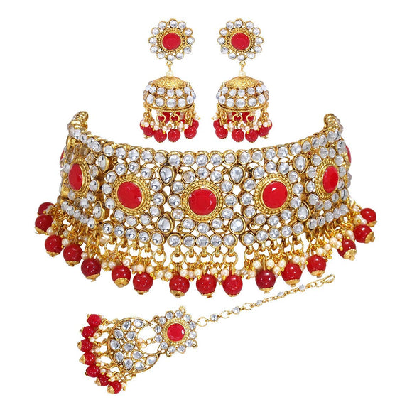 Asmitta Jewellery Red Zinc Necklace set with Mangtikka - NS807