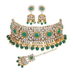 Asmitta Jewellery Green Zinc Necklace set with Mangtikka - NS808