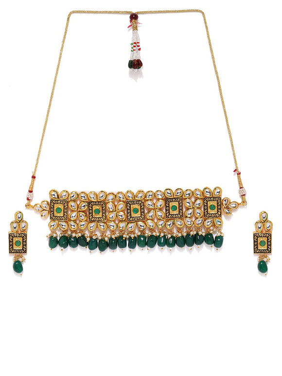 Asmitta Wedding Wear 18 K Gold Plated Kundan Pearl Meenakari Choker Necklace Set-NS854