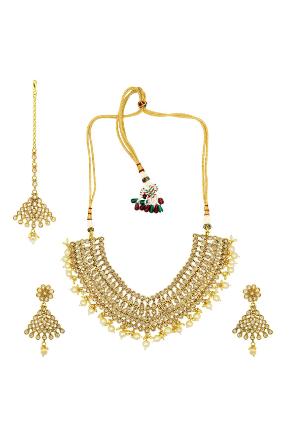 Asmitta Exclusive Kundan Pearl Necklace Set-NS894