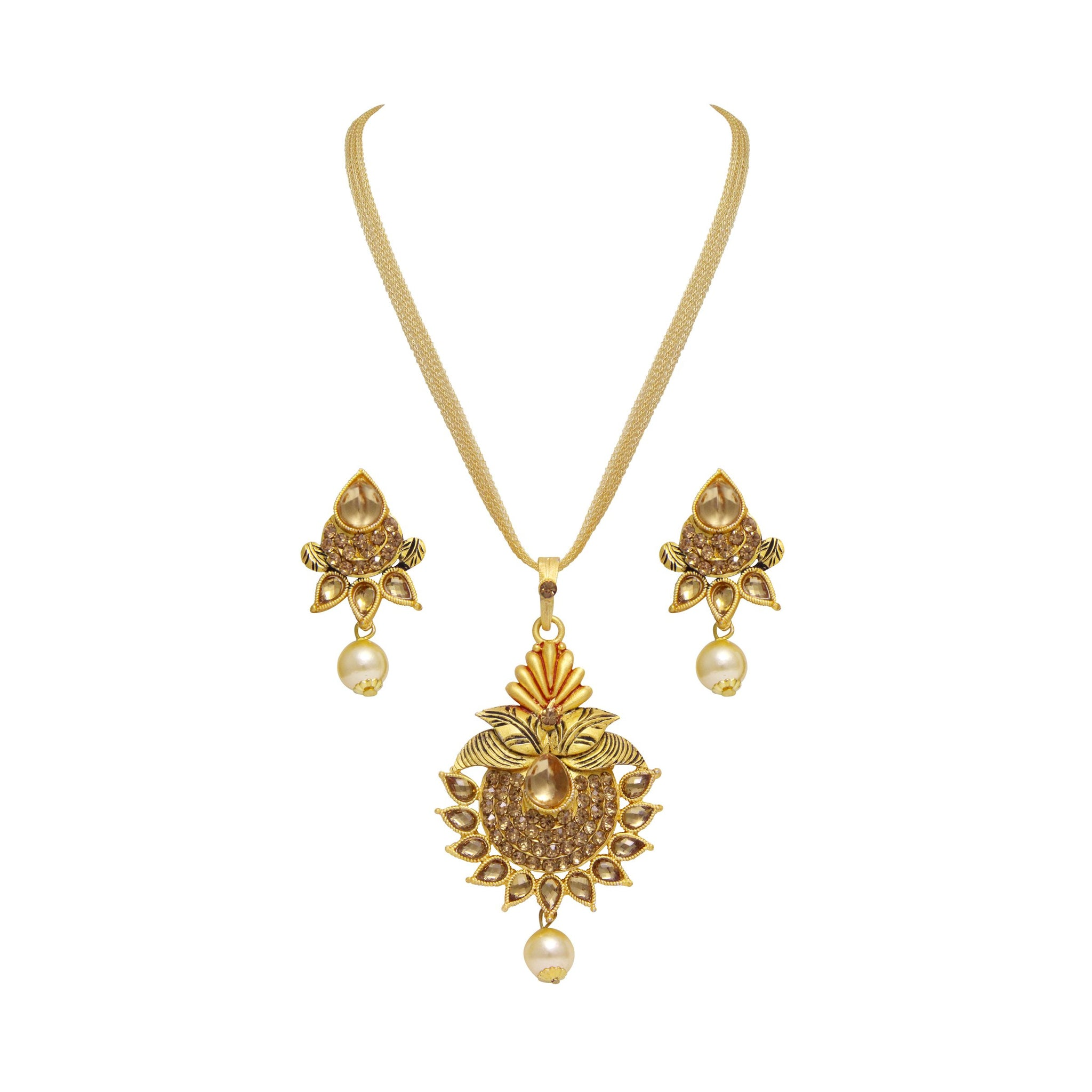 Asmitta Glimmery Gold Plated With LCT Stone Pendant Set For Women