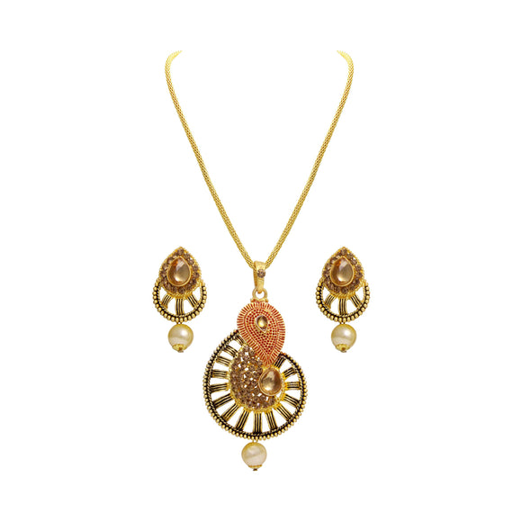 Asmitta Jewellery Gold Zinc Pendant Set - PS111