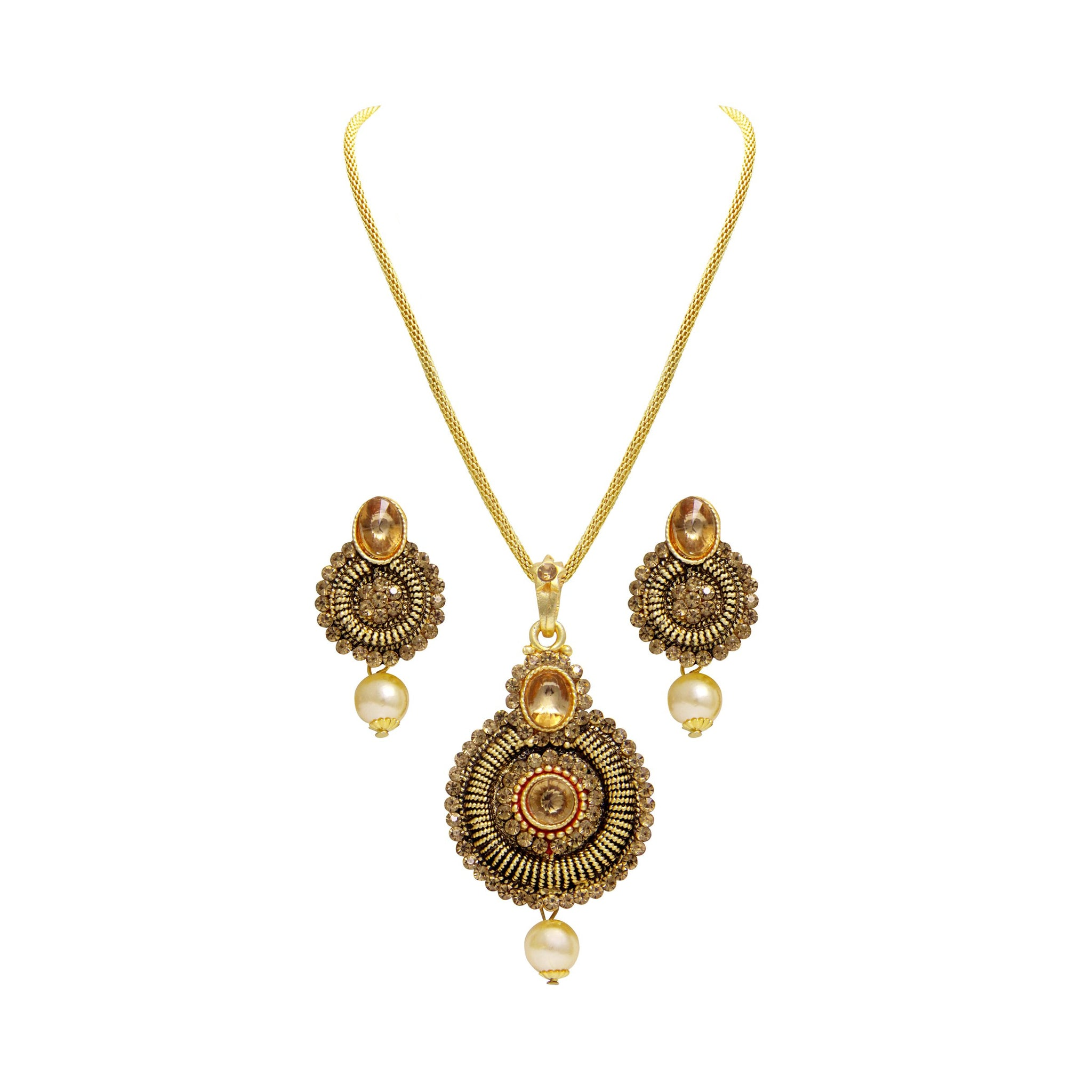 Asmitta Ritzy Gold Plated With LCT Stone Pendant Set For Women