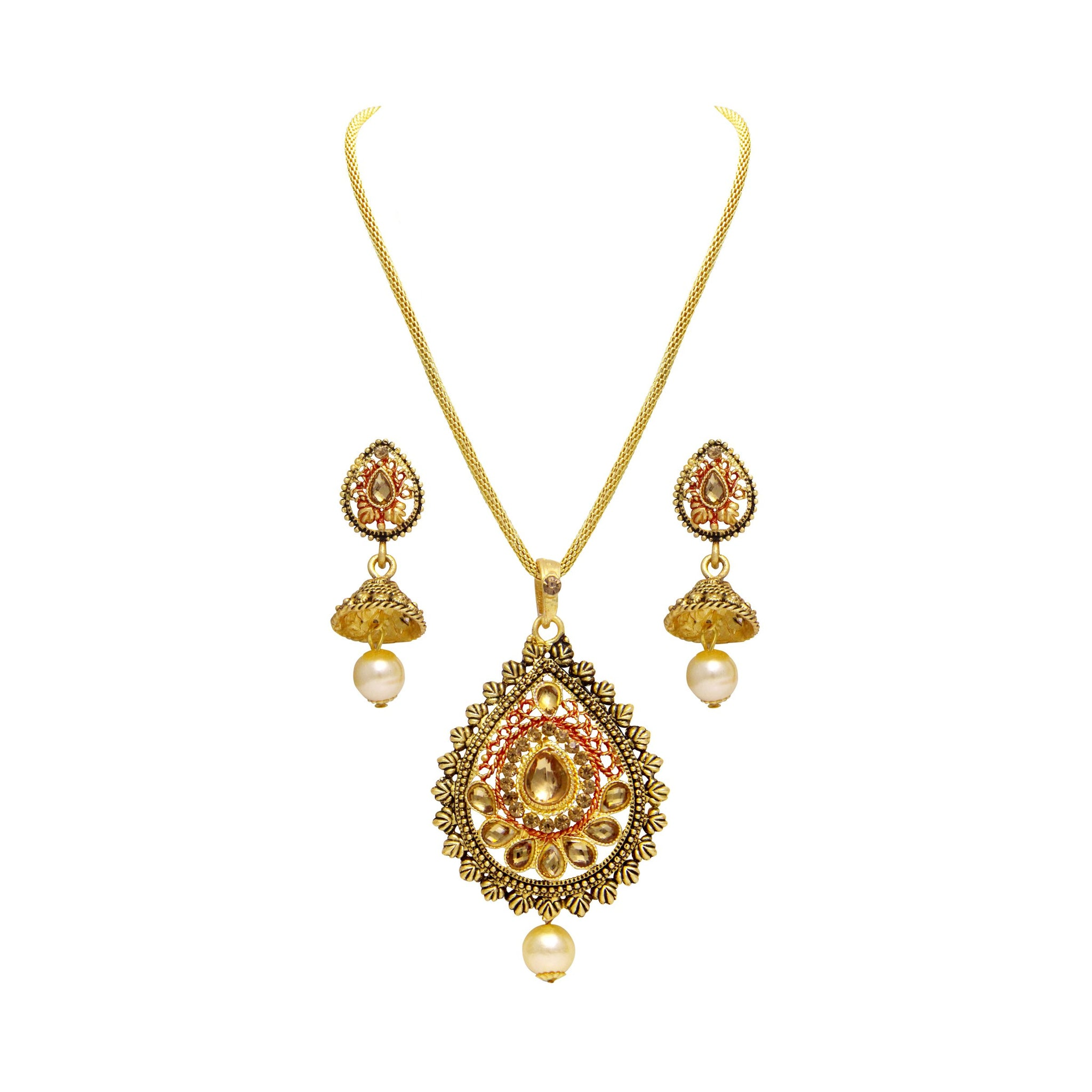 Asmitta Fascinating Gold Plated With LCT Stone Pendant Set For Women