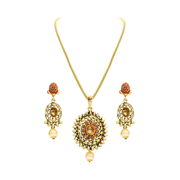 Asmitta Jewellery Zinc Jewel Set (Gold) -PS114