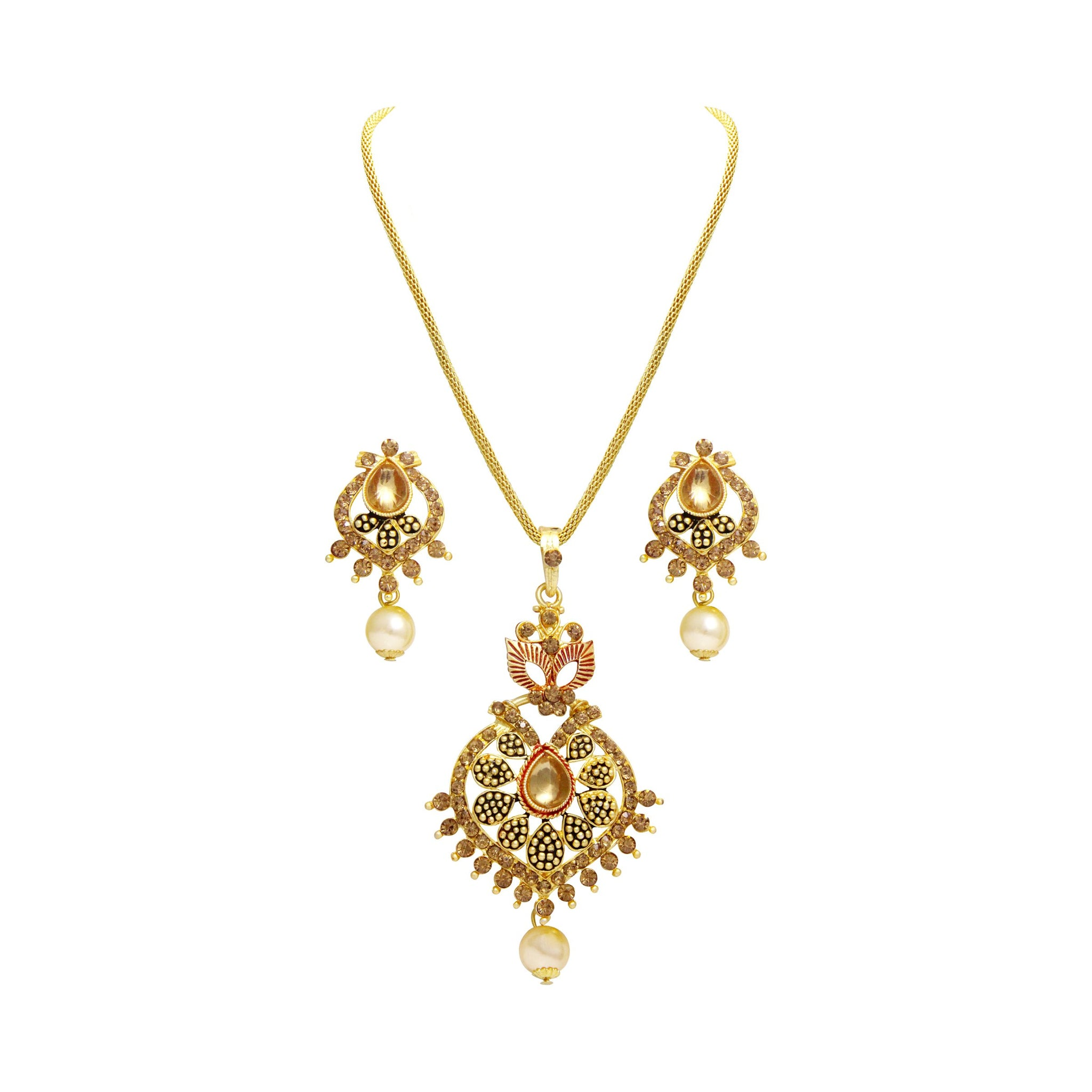 Asmitta Dazzling Gold Plated With LCT Stone Pendant Set For Women