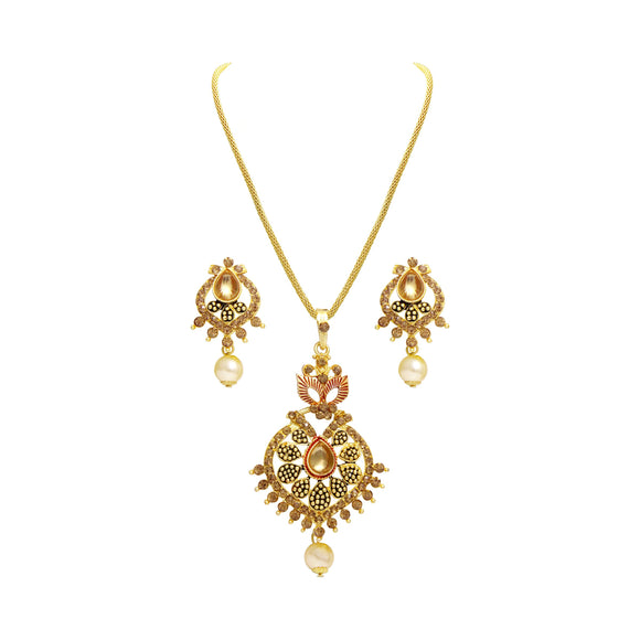 Asmitta Jewellery Gold Zinc Pendant Set - PS116