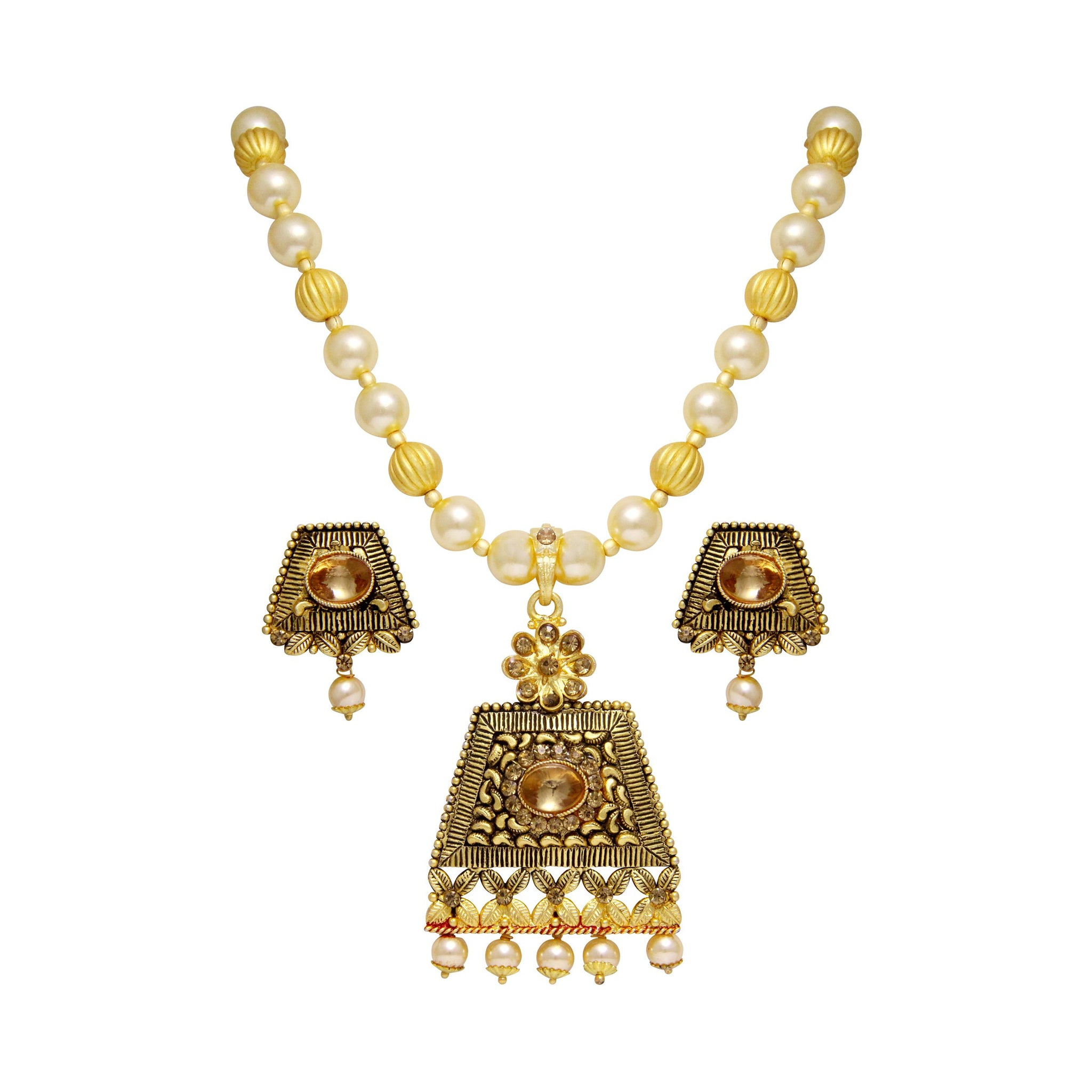 Asmitta Charming Gold Plated With LCT Stone Pendant Set For Women