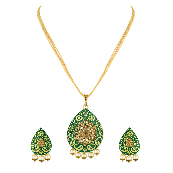 Asmitta Meenakari Gold toned Pendant Set -PS135
