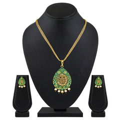 Asmitta Designer Meenakari Work Gold Plated With Antique LCT Stone Pendant Set For Women