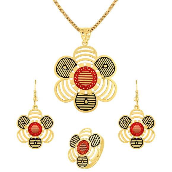Asmitta Jewellery Zinc Jewel Set (Gold) -PS186