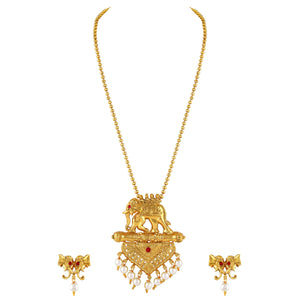 Asmitta Exquitely Elephent Design Gold Plated Pendant Set For Women