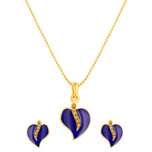 Asmitta Jewellery Zinc Jewel Set (Gold, Blue) -PS224