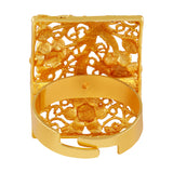 Asmitta Floral Shape Gold toned Finger Ring -R134