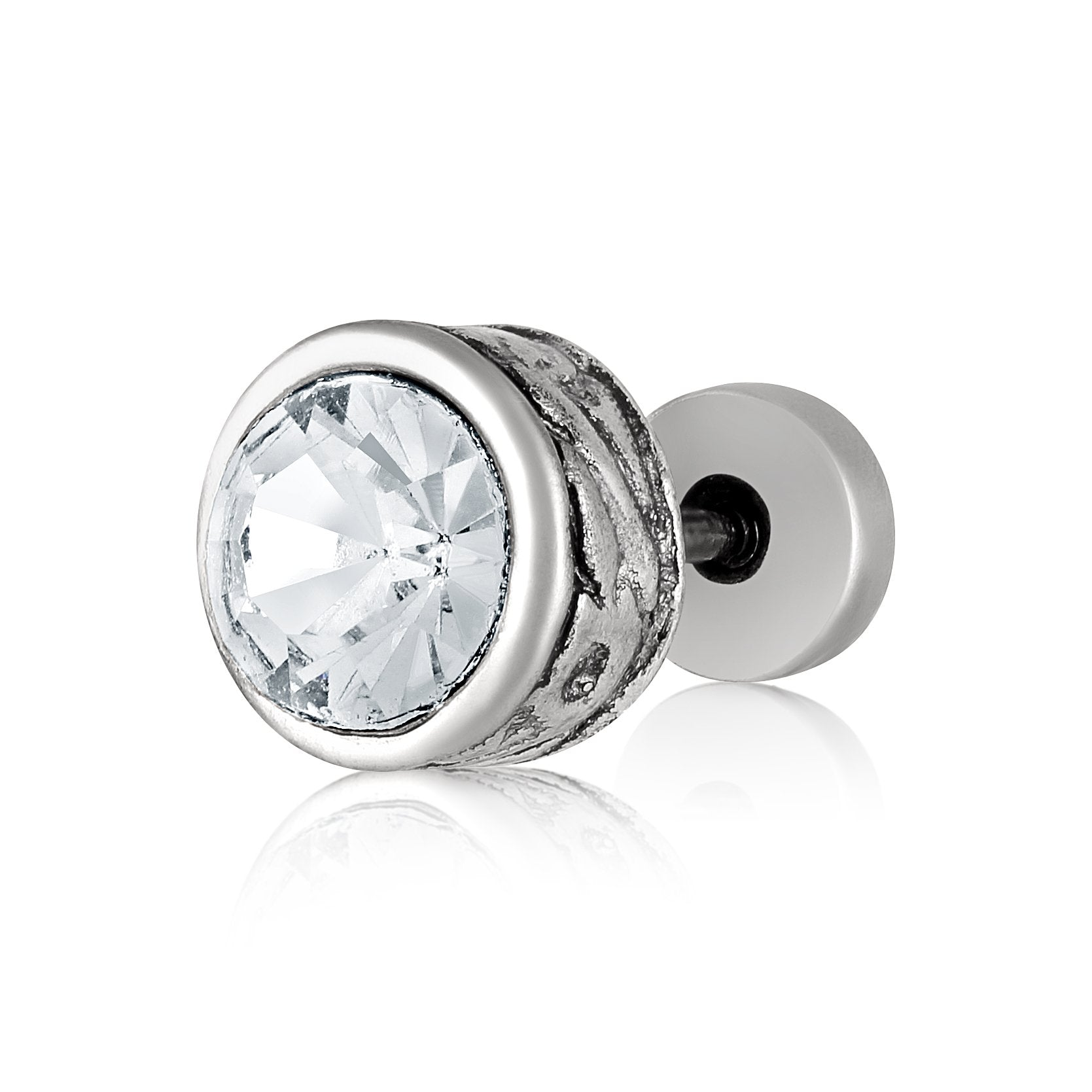 Asmitta Jewellery Men Silver Single Stud Earring For Unisex  -SM132
