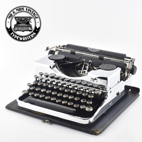 chrome plated Royal P typewriter for rent