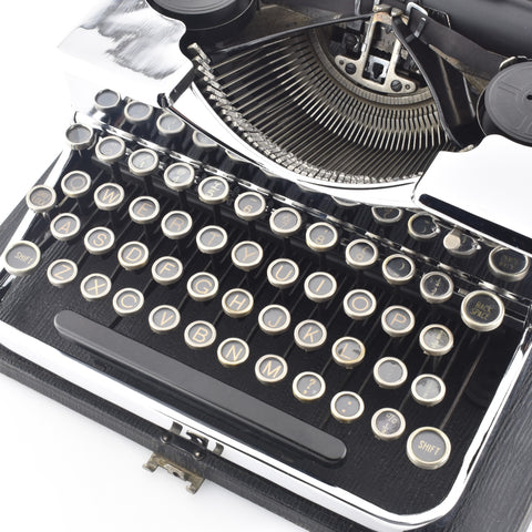chrome plated typewriter for rent on weddings