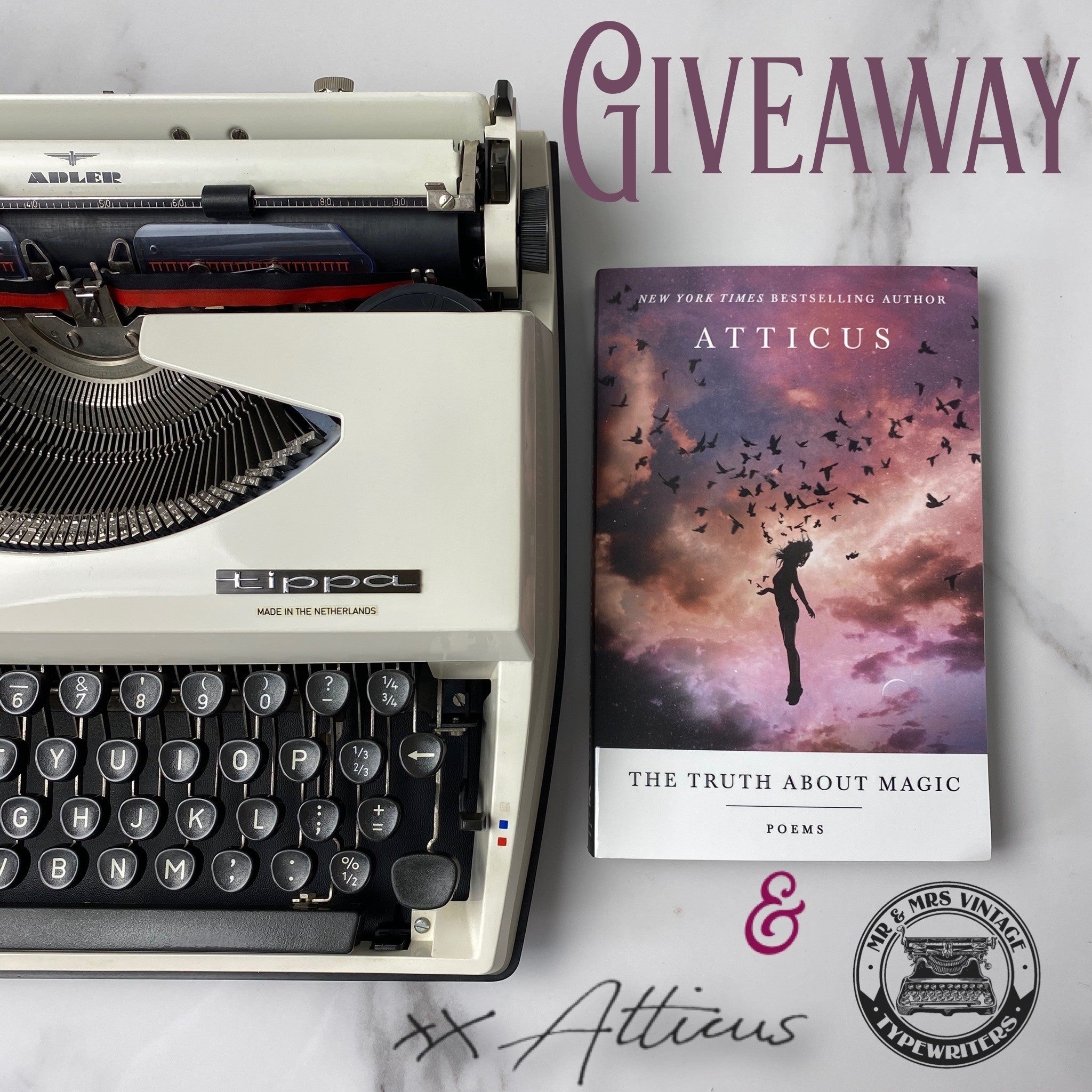 Adler Tippa Typewriter giveaway from Mr and Mrs Vintage and atticus poetry.