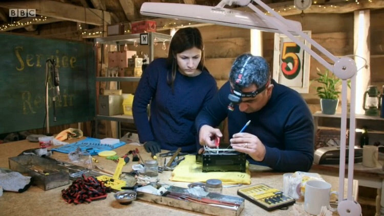 Walid and Joujou restore a typewriter in The Repair Shop on BBC