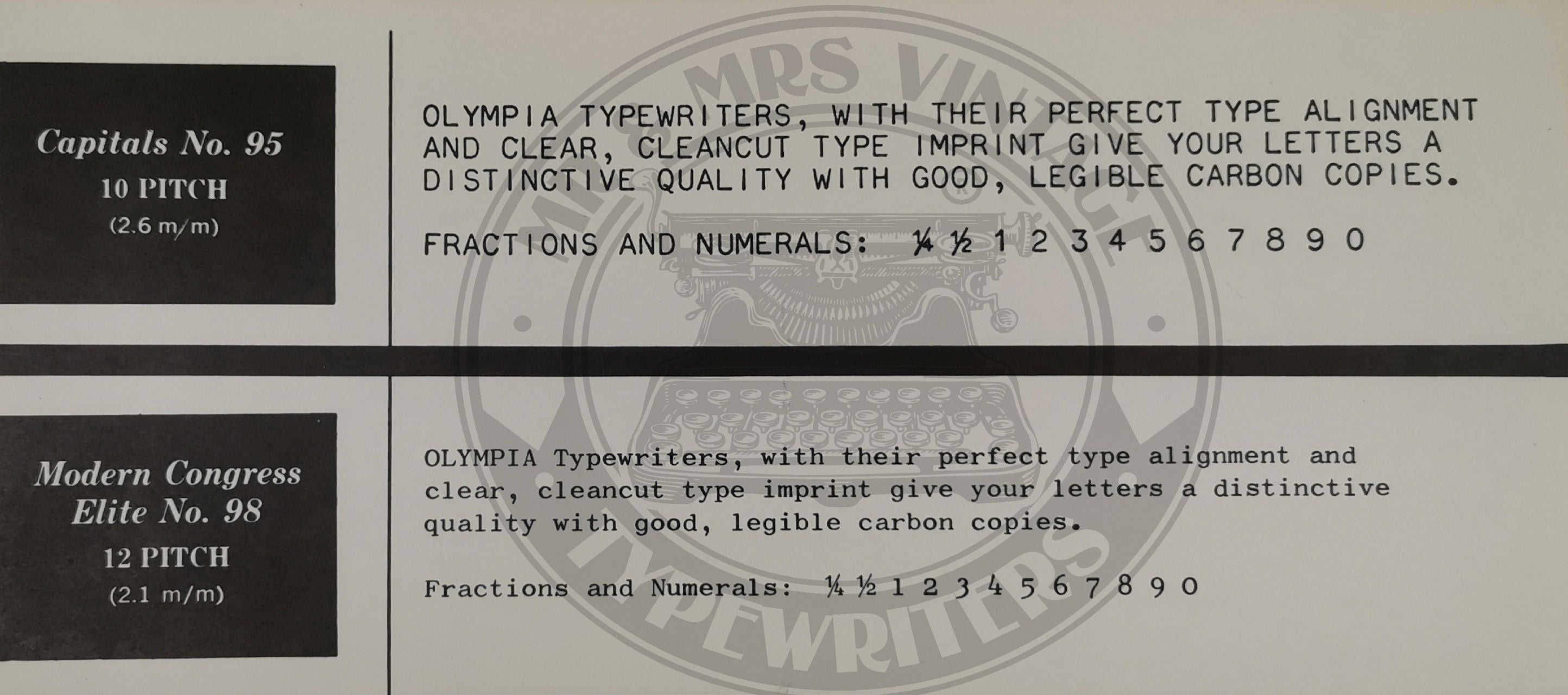 Olympia typewriter fonts and cursive typefaces