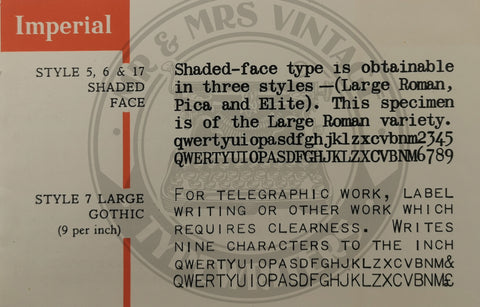 Rare typefaces on imperial good companion typewriter