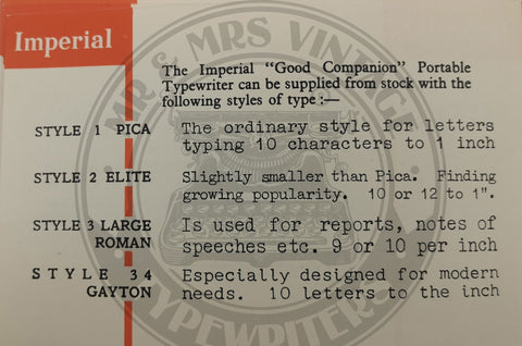 Imperial typewriter typefaces