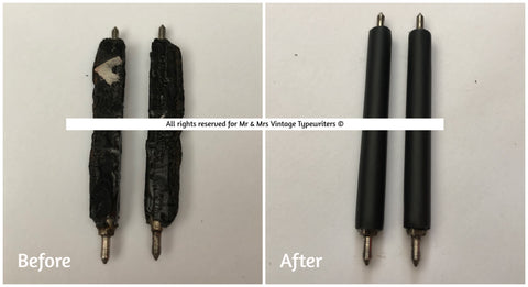Worn typewriter feed roller restoration