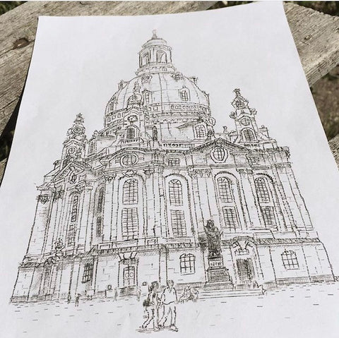 typewriter art picture drawing using a typewriter of Frauenkirche in Dresden