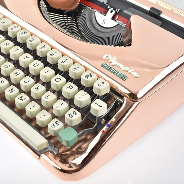 Copper plated Olympia Splendid 66 Typewriter (Rose Gold Colour Typewriter)