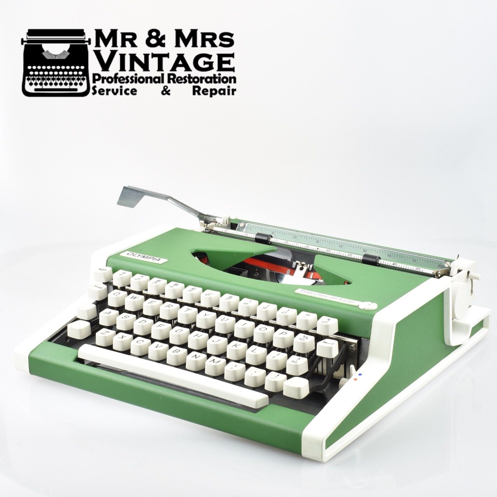 Rare Green Olympia Traveller Deluxe Typewriter Portable Rare & Limited Edition