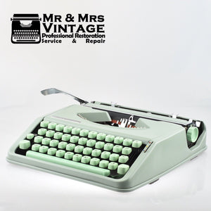 Hermes Baby Typewriter - Mint Green with Special Carrying Case. PRISTINE