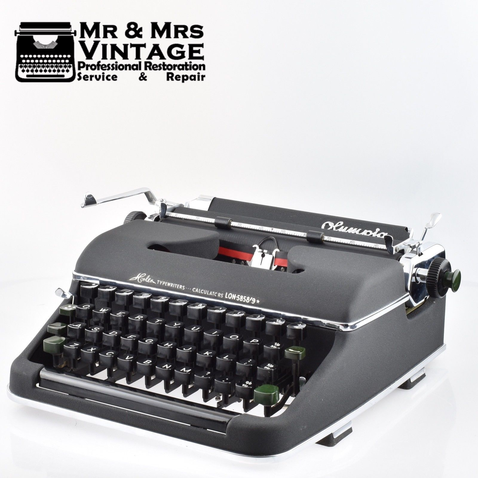 EARLY Olympia SM2 Typewriter Working Black Red Ribbon Mint (Early SM3)