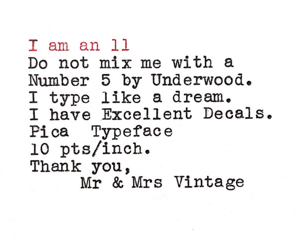 Underwood 6 Desk Typewriter Typeface