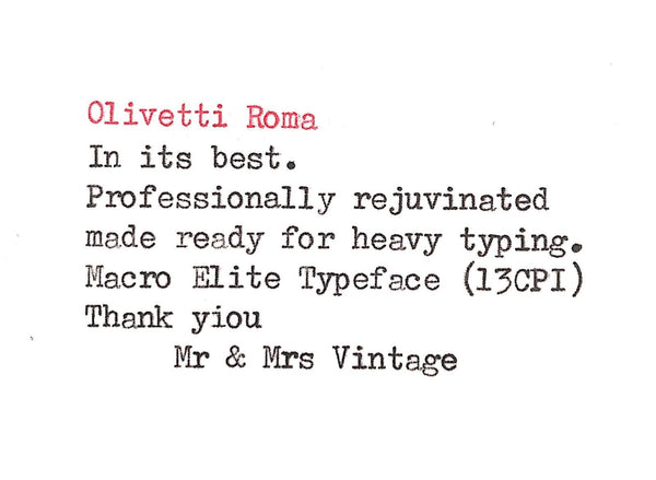 Mint Olivetti Roma Typewriter in Grey & Red
