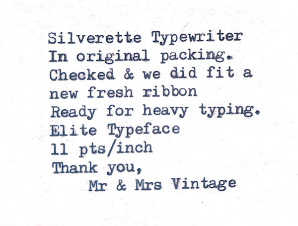 Boxed Vintage Silver Reed Silverette Typewriter  portable & in Pristine condition