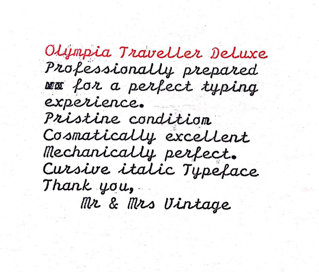 Olympia Traveller Deluxe S Typewriter Cursive Italic FREE