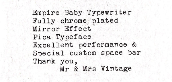 Empire Baby Chrome Typewriter Typeface