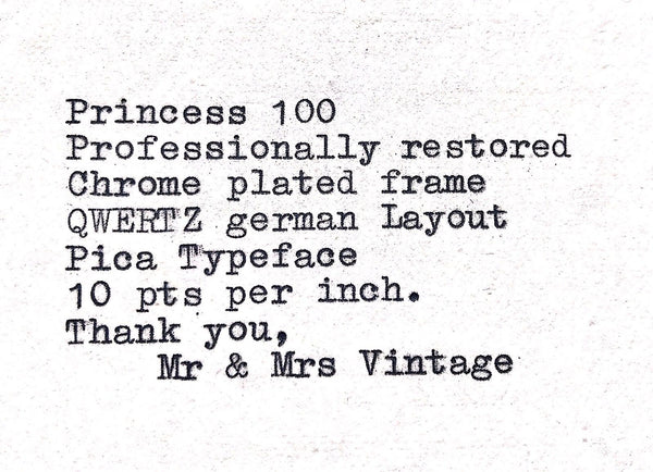 Chrome plated QWERTZ Princess 100 Typewriter Working Black Ribbon