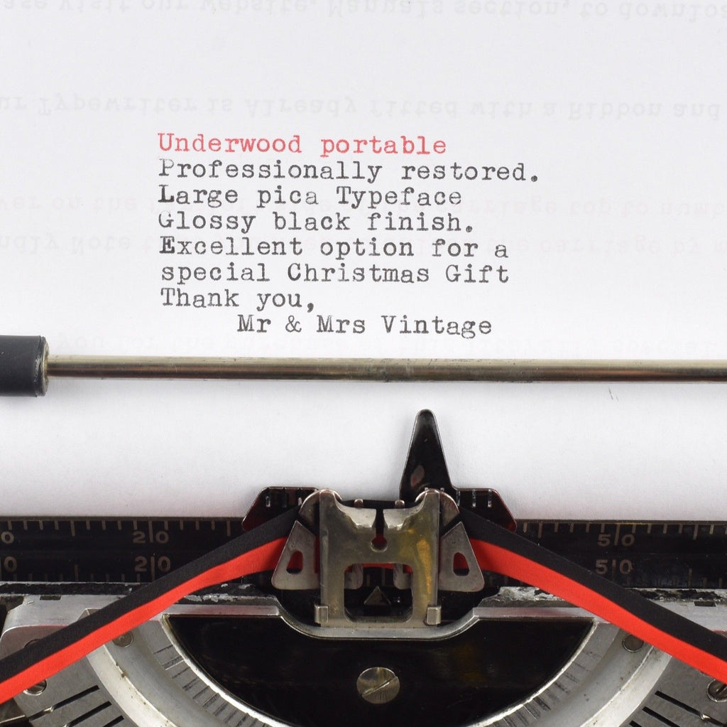 Underwood standard portable Typewriter  typeface