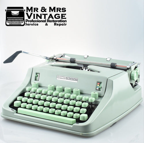 Mint Hermes 3000 Typewriter with Green Keys Made in Switzerland
