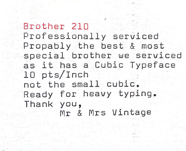 Brother 210 Cubic Typeface