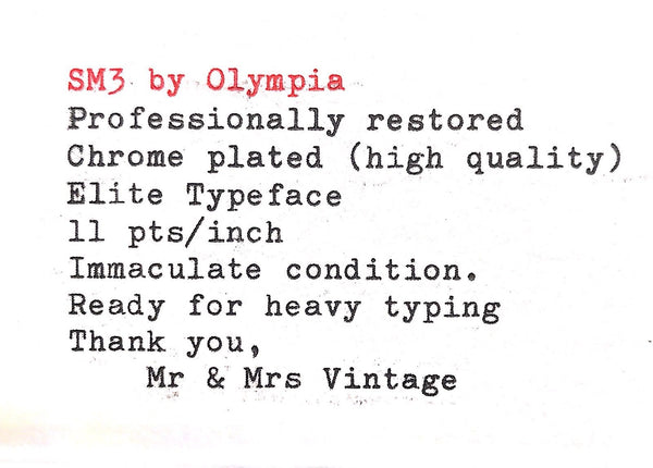 Olympia SM3 Chrome plated Typewriter Matte Green Working Black Red Ribbon