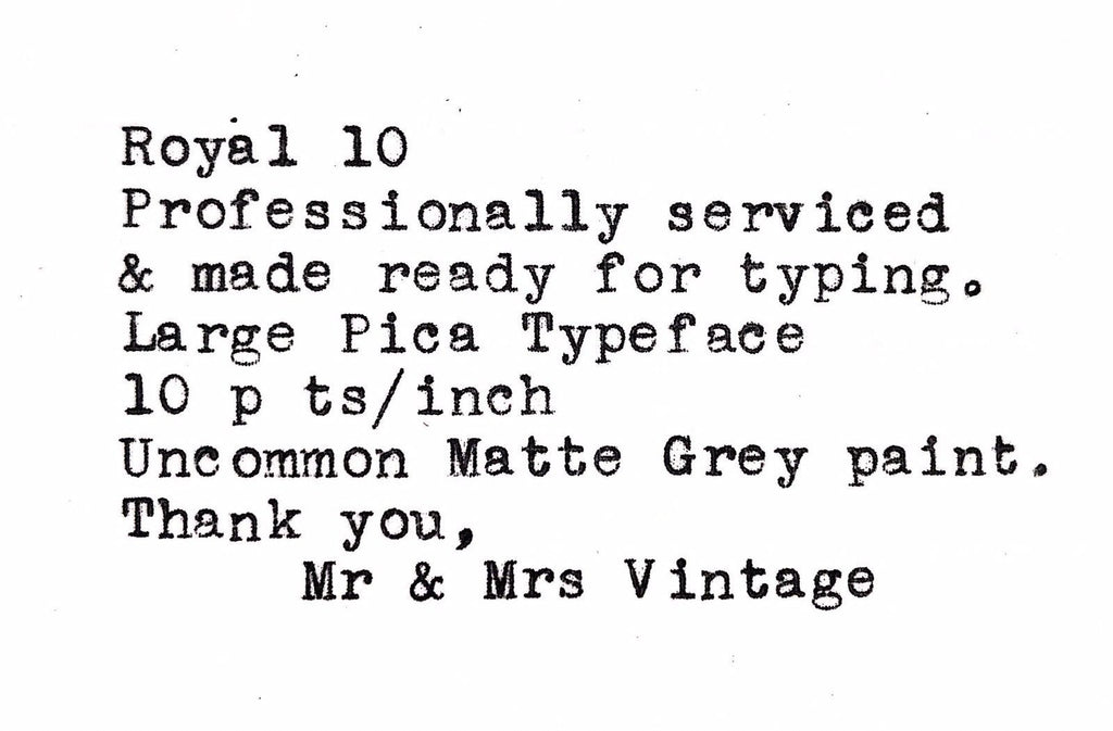 Royal 10 Desk Typewriter typeface